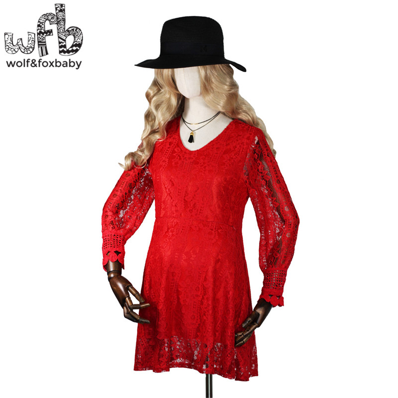 Retail Pregnant women Large size dress lace solid color long-sleeve V-neck lactation dress spring autumn fall ...