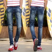 2016 марка мужские джинсы темно-синий цвет Высокое качество прямой рваные джинсы для мужчин печатных джинсы мода дизайнер 808 джинсы