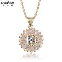 ShinyGem 26 Alphabet Letter Necklace Big Round Crystal Pendant Rainbow Gem Stone A-Z Initial Necklaces For Women
