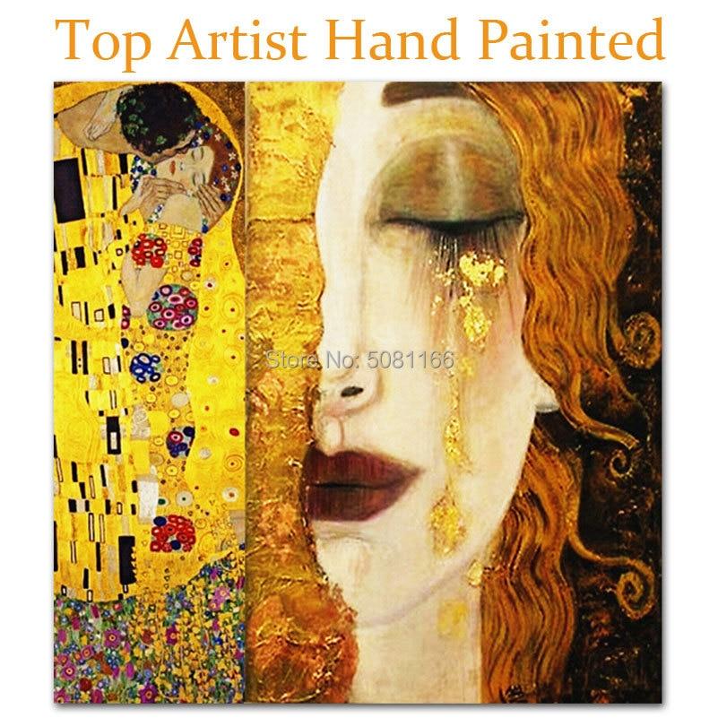 Peint à la main top célèbre peinture à l'huile or larmes d'or par Gustav klimt copie toile photos baiser mur art chambre décoration