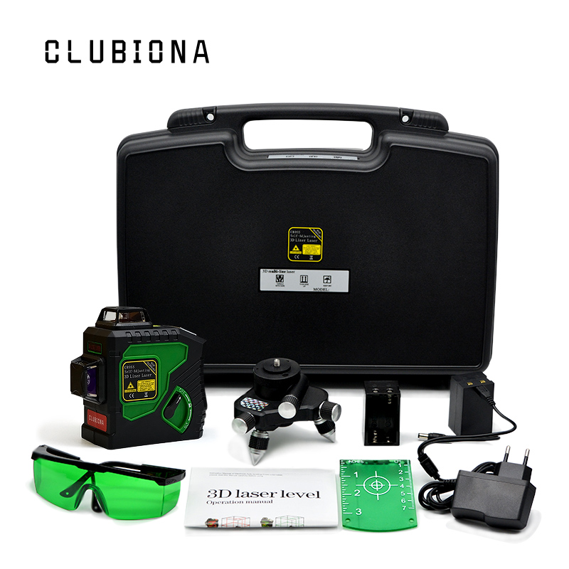 EU plug CLUBIONA Professional engineer laser module 360 rotary TILT functional Self-leveling Cross Line 3D 12 Line laser level high quality southern laser cast line instrument marking device 4lines ml313 the laser level