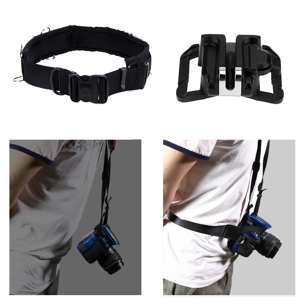 Universal Fast Loading Hard Plastic Camera Holster Waist Belt Quick Strap Buckle Button Mount Clip For