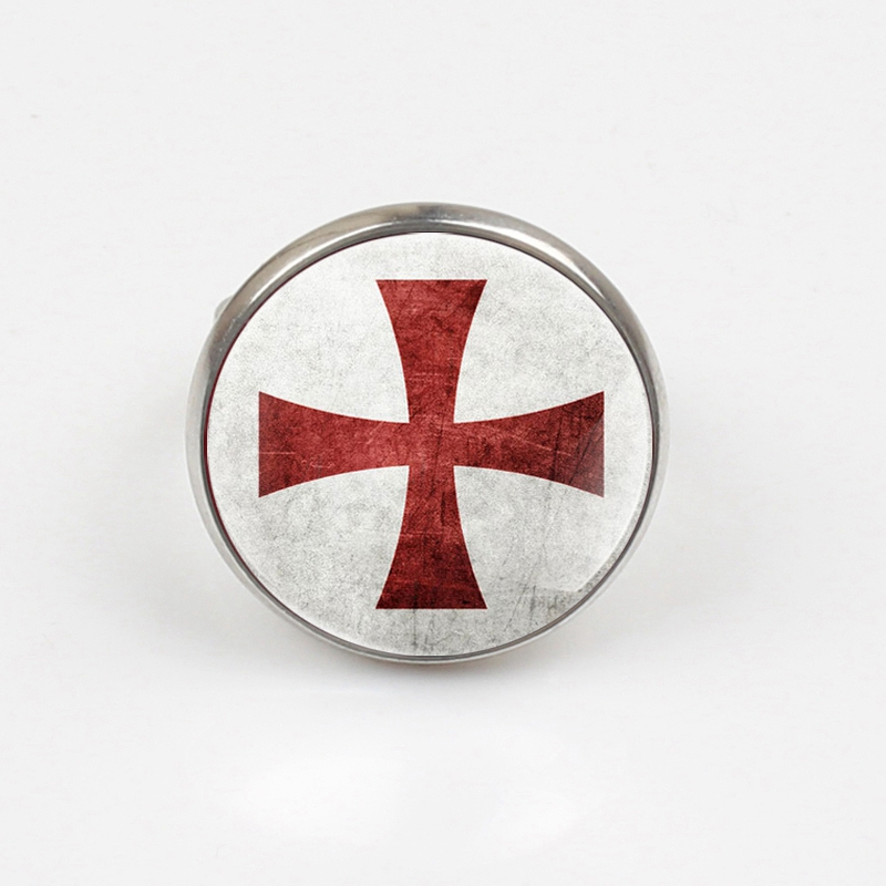 GDRGYB 2019 Antique Crusader Flag Cross Glass ring Vintage Men Women Cross Rings in Rings from Jewelry Accessories