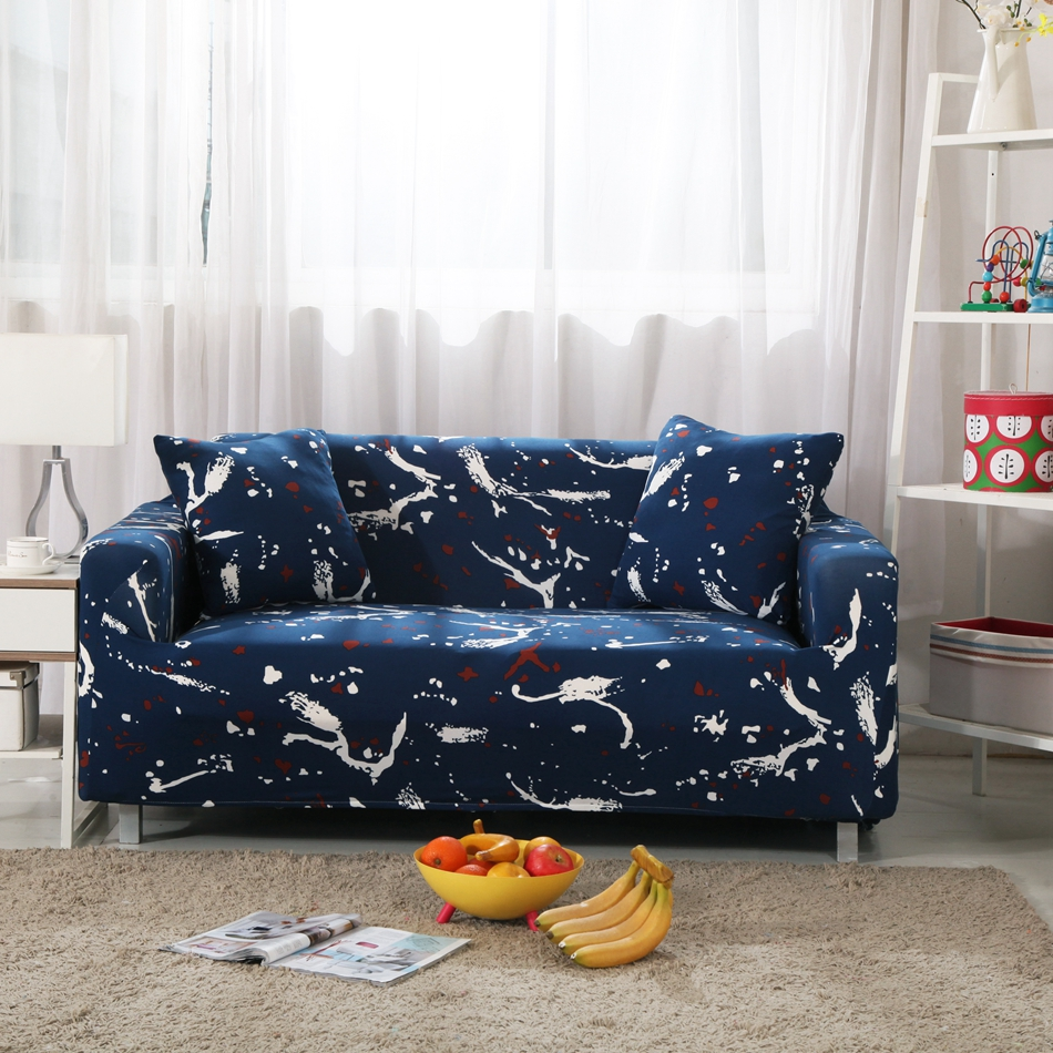 Navy Blue Universal Stretch Sofa Covers For Living Room 100% Polyester  Corner Sofa Slipcovers Coucn Loveseat Sofa Covers Plush