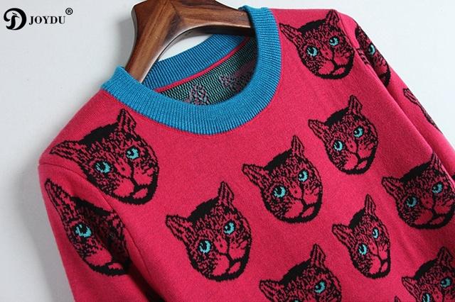 JOYDU Runway Designer Sweater Women 2018 New Winter Jumper Cat Pattern Rose Color Casual Slim Knit Pullover pull sueter mujer