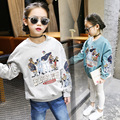 New 2017 Girls Pullover Kids Long Sleeve Tops Clothes Baby Shirt Children Loose Style Cartoon Shirt Toddler Spring Clothes,4-14Y