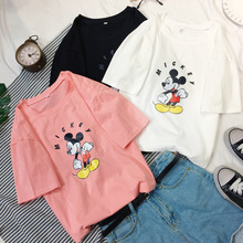 Womens Summer Autumn Short sleeve tops streetwear kawaii Mickey Disny cartoon Mouse women shirts clothes t-shirt