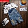2016 Nueva Llegada Del Verano Estirada Mens Delgados Rectos Overol de Mezclilla Jeans Gastados Ripped Mono Tirantes Masculinos Baberos 282