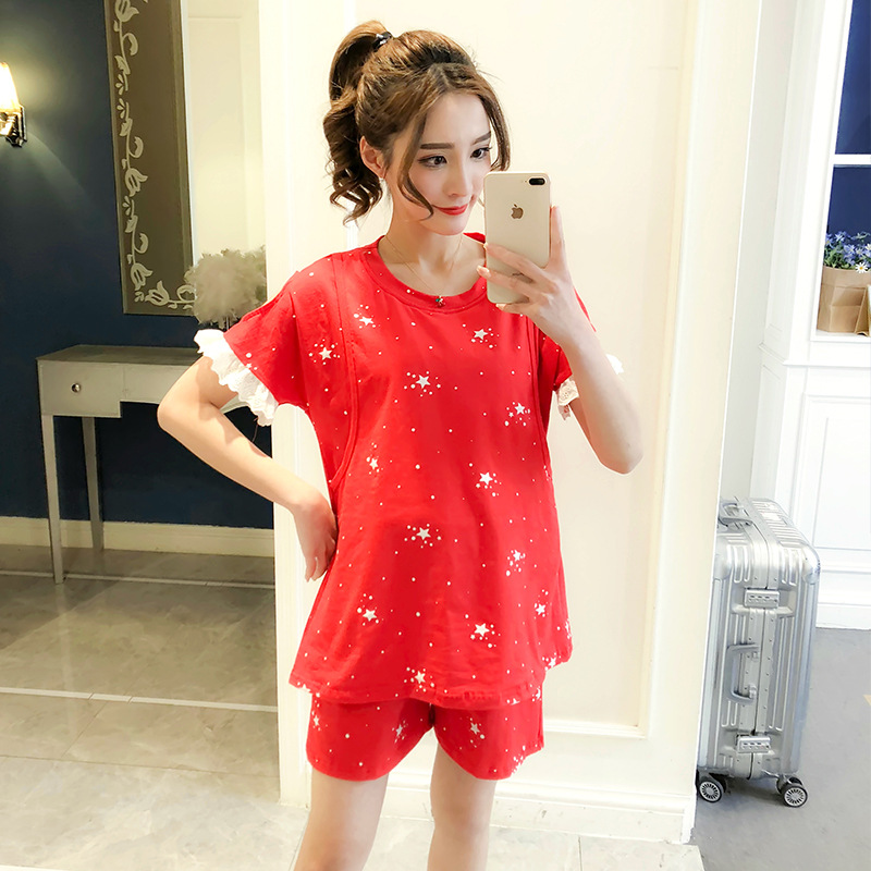 New Cotton 2 Pieces Maternity Pajamas Set Pregnant Women Lounge Nursing Sleepwear Breastfeeding Pajamas Maternity Clothes