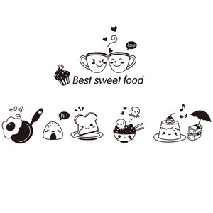 Kitchen Wall Stickers Coffee Sweet Food DIY Wall Art Decal Decoration Oven Dining Hall Wallpapers PVC Wall Decals/Adhesive Hot(China)