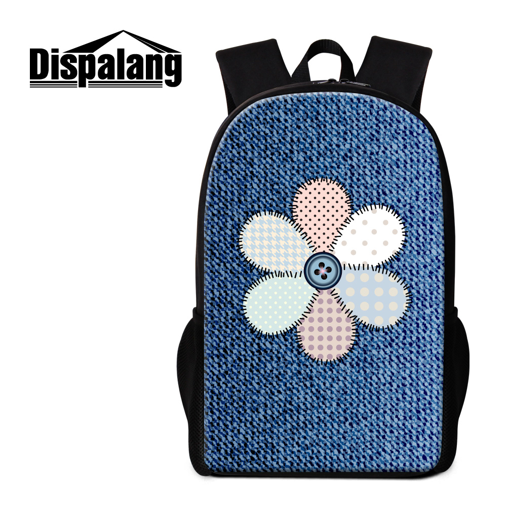 Dispalang 2017 new arrival jean floral school back pack for children 16 inch large leisure students schoolbags mochilas daypacks
