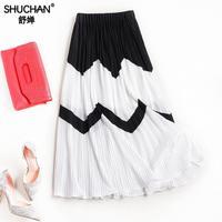 Shuchan جديد أزياء الخريف النساء الشيفون تنورة blac بيضاء طويلة مطوي التنانير النسائية saias faldas خمر ميدي النساء c531