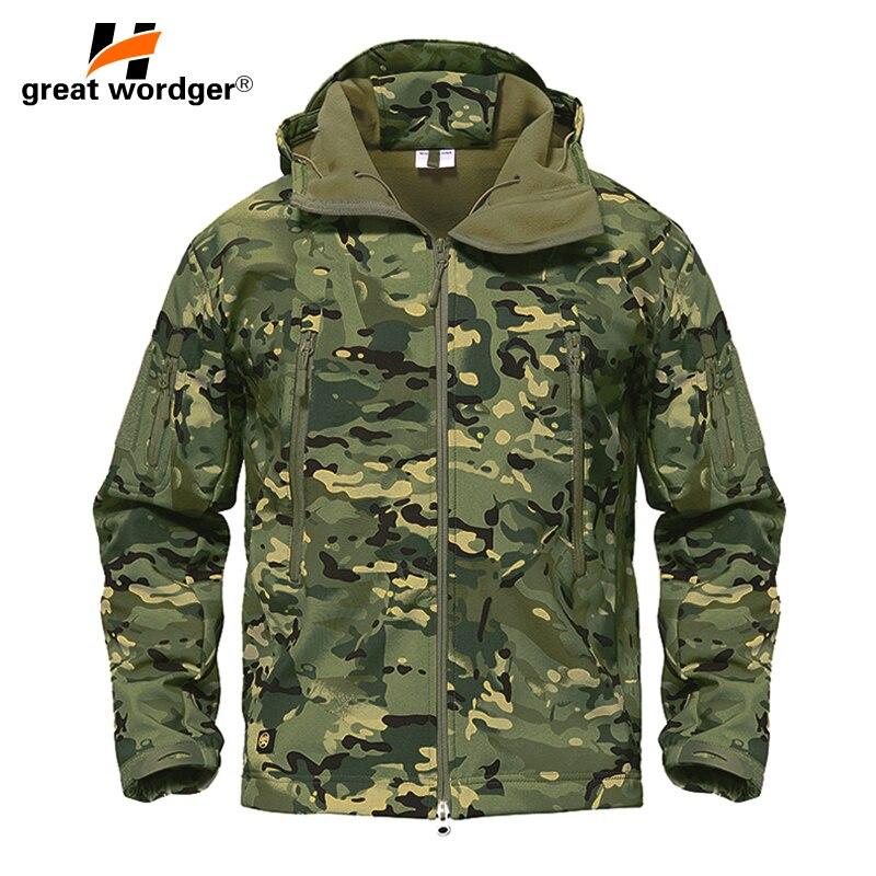 Freien Taktische Camouflage Männer Jacke Mantel Militärischen Armee Jacke Winter Wasserdichte Soft Shell Jacke Windjacke Jagd Kleidung