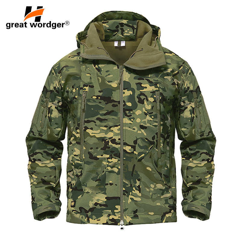 Outdoor Tactical Camouflage Men Jacket Coat Military Army Jacket Winter Waterproof Soft Shell Jacket Windbreaker Hunting Clothes hunting jackets waterproof camouflage hoodie men s army military outdoor soft shell tactical jacket military camo army clothing