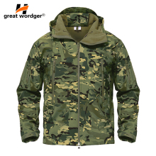 купить Outdoor Tactical Camouflage Men Jacket Coat Military Army Jacket Winter Waterproof Soft Shell Jacket Windbreaker Hunting Clothes дешево