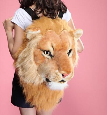 Fashion Tiger Head Bag Knapsack Lion Backpack White Backpack Tiger Head Bags