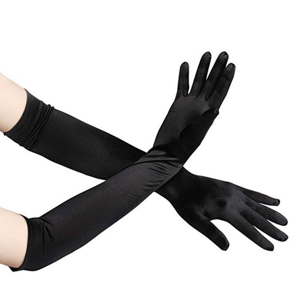 1 Paar 48 Cm Frauen Elegante Oper Lange Satin Handschuhe Bankett Hochzeit Abend Halloween Phantasie Kleid Partei Kostüm Handschuhe Schwarz Balc Mit Den Modernsten GeräTen Und Techniken