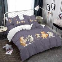 Cartoon Animals Hand By Hand Bedding Set Fox Rabbit Bear Print Duvet Cover Set Bedsheet Pillowcase Kid's Gift 3Pcs/4Pcs Bed Set