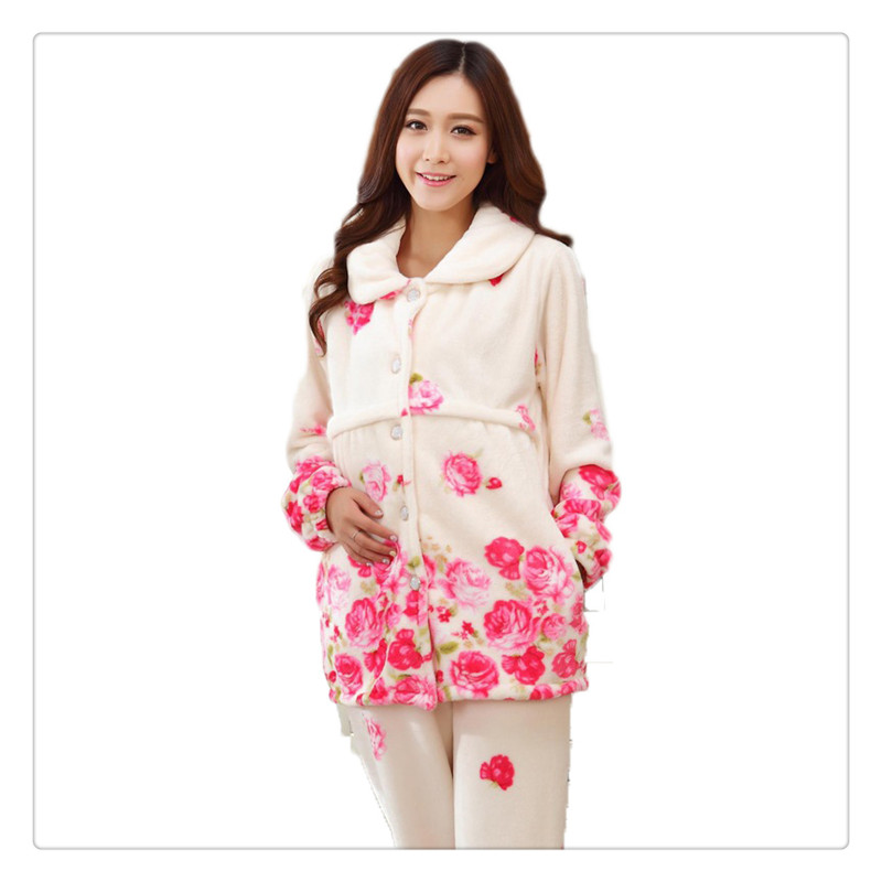 ФОТО 2017 New Winter Flannel Maternity Pajamas Clothes Long Sleeve Floral Breastfeeding Pregnant Pajamas Set warm Winter high quality