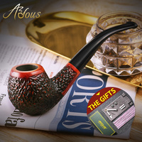ADOUS Pipe Stone manual dry pipe tobacco bucket old Phoebe wood leaves AS860 carved a funnel