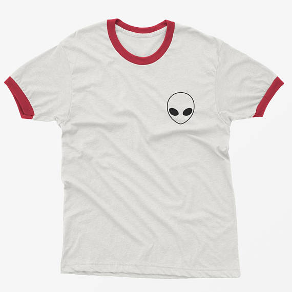 Alien Shirt Pocket Tee Ringer T Shirt Tumblr Shirt for teens teenage girl clothes gifts Graphic Tee Women T-shirts