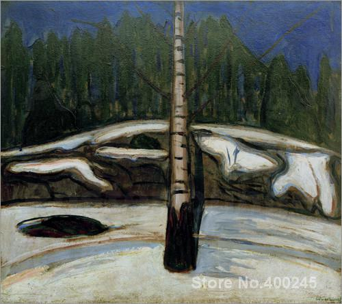 Symbolism Edvard Munch Birch In Snow Oil Painting High Quality Hand