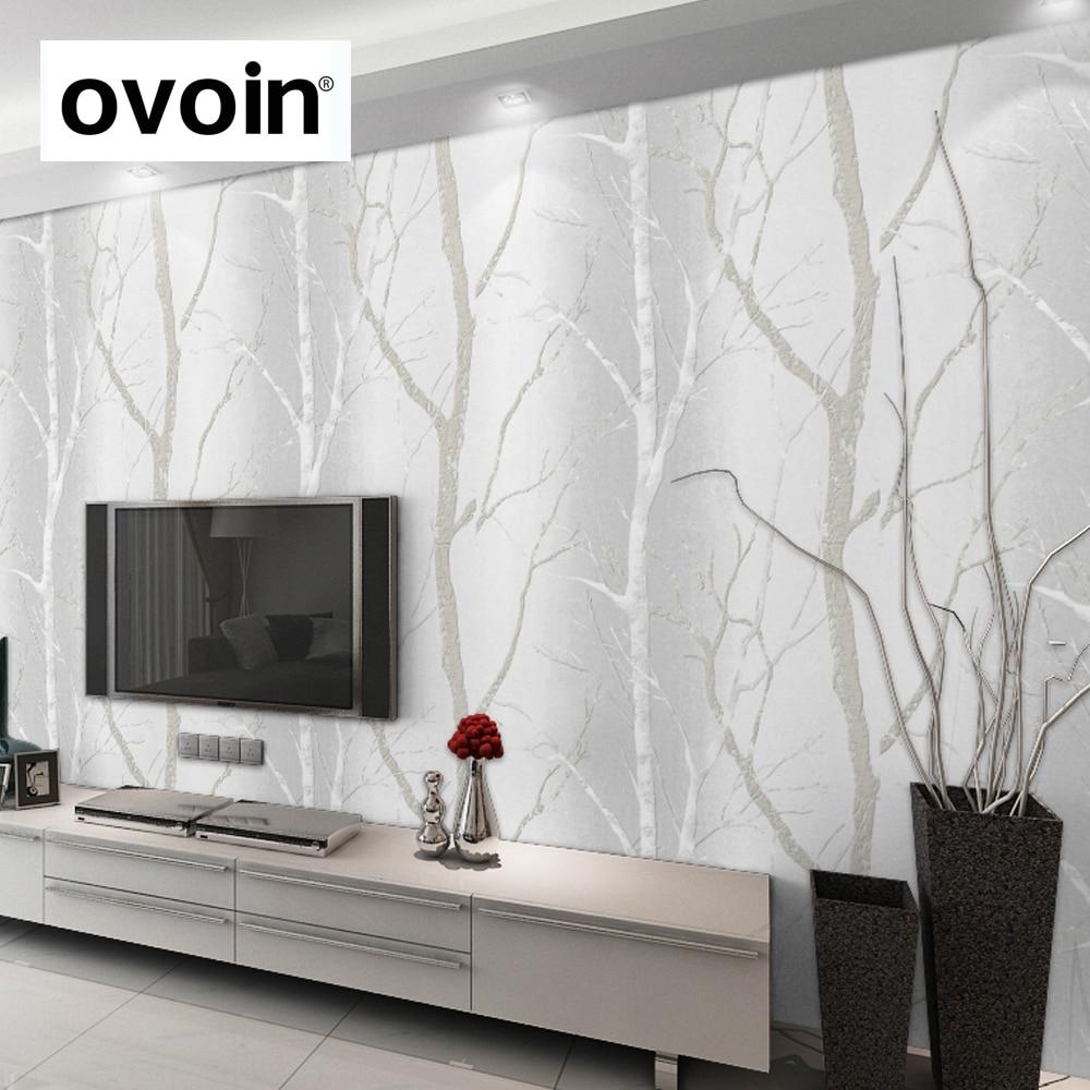 pais bouleau fort blanc bois papier peint moderne designwall papier pour salon chambre tv fond bleu - Papier Peint Design Pour Salon
