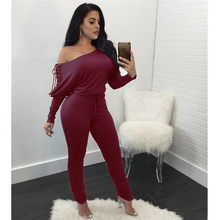 dashiki jumpsuits long sleeves 2017 New Design Top Bodycon Jumpsuit Full Sleeve Long Jumpsuit Slash Neck Sexy Jumpsuit M2236(China)