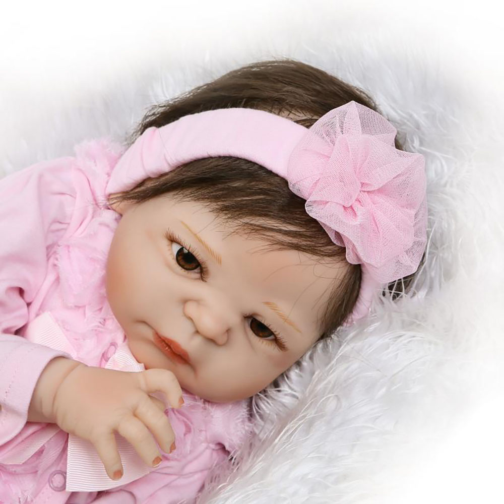 Lovely Girl Princess Reborn Baby Dolls 23 Full Silicone Body Lifelike Baby Dolls with Hair So Truly Reborns kids Birthday Gift
