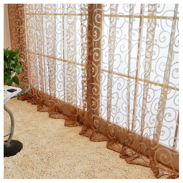 Double S hook pattern Polyester Window Curtains Drape Valances(Coffee) ...