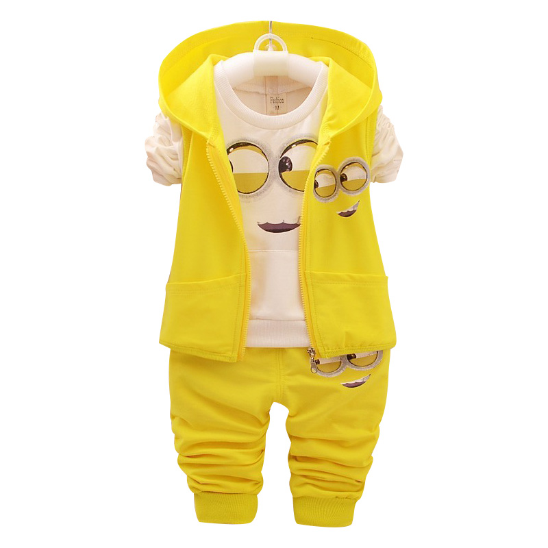 2018 Kids Clothes Minions Baby Boy/Girl Clothing set 3pcs sport suit Casual Children T-shirt + Pants+Vest Boys costume child set kids clothing set plaid shirt with grey vest gentleman baby clothes with bow and casual pants 3pcs set for newborn clothes
