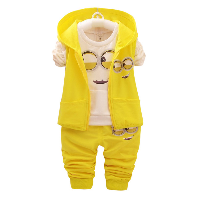 485dbb8090e7 2018 Kids Clothes Minions Baby Boy Girl Clothing set 3pcs sport suit ...