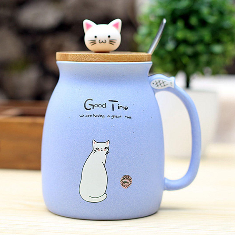 Novedad gato sésamo taza resistente al calor color dibujos animados con tapa taza gatito leche café cerámica taza niños taza Oficina regalos
