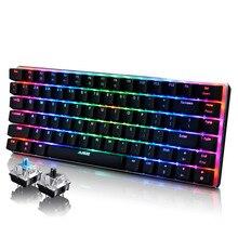 Ajazz AK33 Geek RGB подсветкой Механическая игровая клавиатура синий/черный коммутаторы 82 Ключи Макет Проводной USB клавиатура для ПК и Mac геймеров