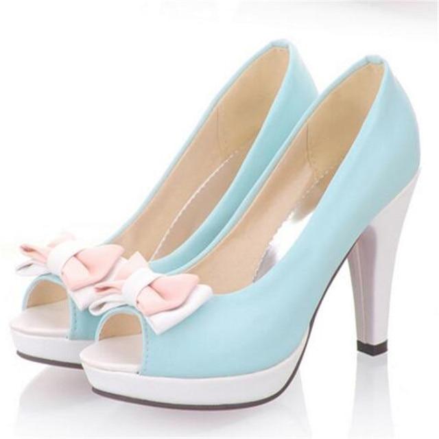 3b9779fee Sapatos femininos salto alto Nova chegada da Primavera Mulheres sapatos  altos Plataformas Bombas dos saltos do