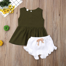 Emmababy Newborn Baby Girl Clothes Sleeveless Solid Color Ruffle Tops Short Pants 2PCS Outfits Summer Clothes