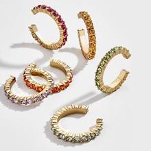 6 шт., удивительная цена, модные маленькие серьги-манжеты для ушей, набор для женщин, цветные кубические циркониевые камни, круглые серьги-клипсы, без пирсинга