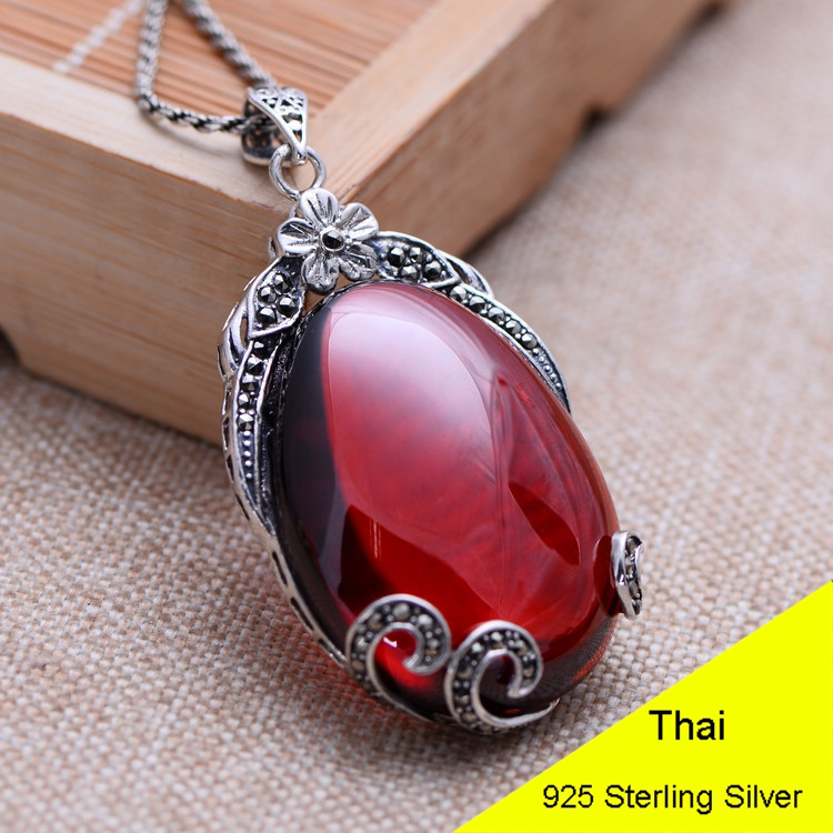 Waterdrop Red Garnet 925 Sterling Silver Retro Marcasite Necklace Pendant Women Thai Silver Fine Jewelry Gift CH052244 925 sterling silver retro garnet vajry pestle necklace pendant men thai silver fine jewelry gift ch021420
