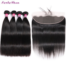 Lynlyshan Hair Indian Straight Human Hair 4pcs Bundles With Lace frontal 13*4 Remy Hair Natural Color Free Shipping(China)
