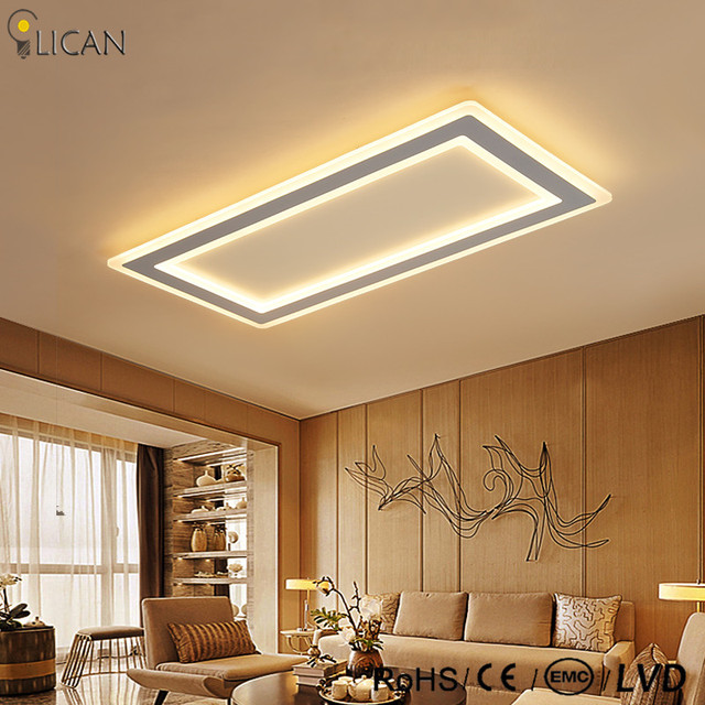 LICAN Modern LED Ceiling Lights Living room Bedroom Abajur Luminarias lustre de plafond 110V 220V Rectangle Ceiling Lamp dimming