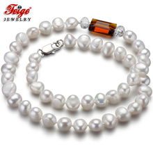Feige Special offer Baroque 7-8MM White Freshwater Pearl Choker Necklace for Women's Orange Crystal Collar Pearl Fine Jewelry jew2605 baroque white reborn keshi pearl necklace a0329