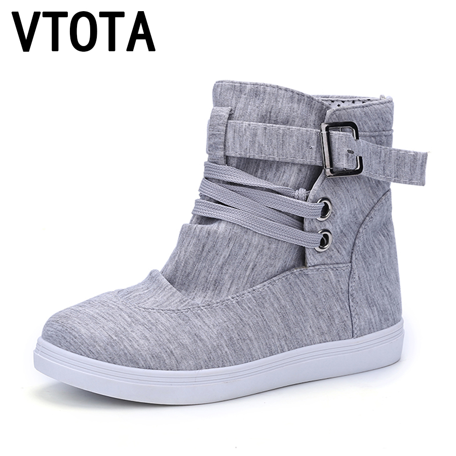 VTOTA Fashion autumn boots women New women shoes Ankle Boot Brand flats canvas shoes lace-Up casual shoes Breathable Botas X305 2017 patchwork lace up rubber sole canvas shoes breathable super leisure women casual shoes with flats student shoes rm 05