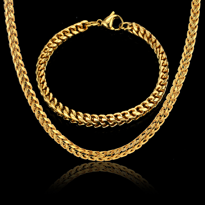 Men Jewelry Sets & More Gold Color Cuban Link Chain Necklace & Bracelet For Men Stainless Steel Chain Cheap Fashion Jewelry Sets