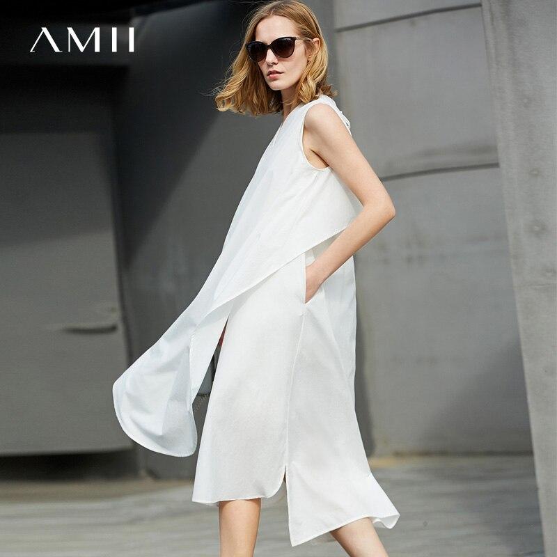 Amii Femmes blanc mollet Manches De Robes Minimaliste 2018 Soie Robe Mi Noir Solide Femme Mousseline Sans wkOPuZlXiT