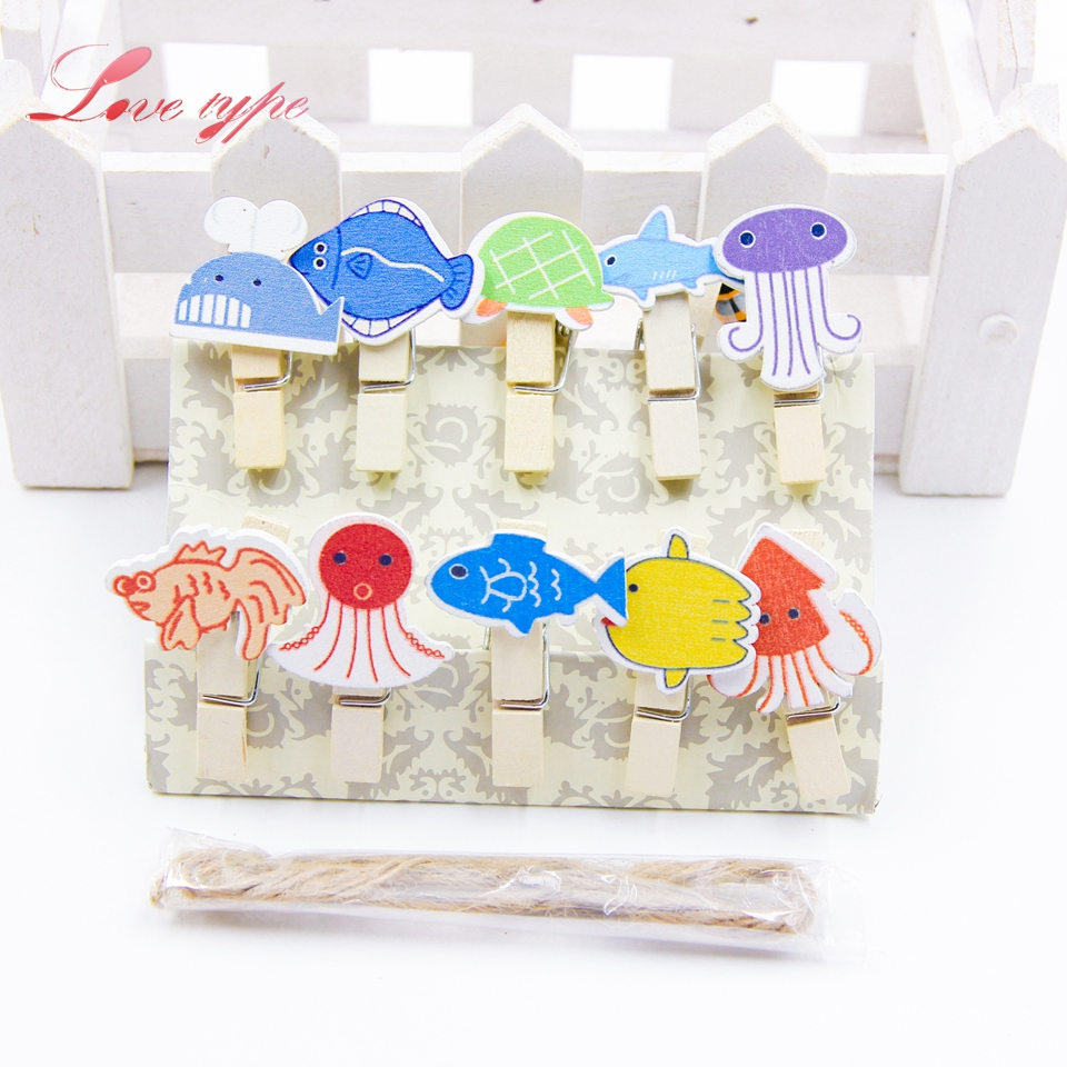 10PCS Clip Ocean World Wooden Clips Mini Fish Marine life Photo Clips DIY Craft For Christmas Party Wedding Home Decoration