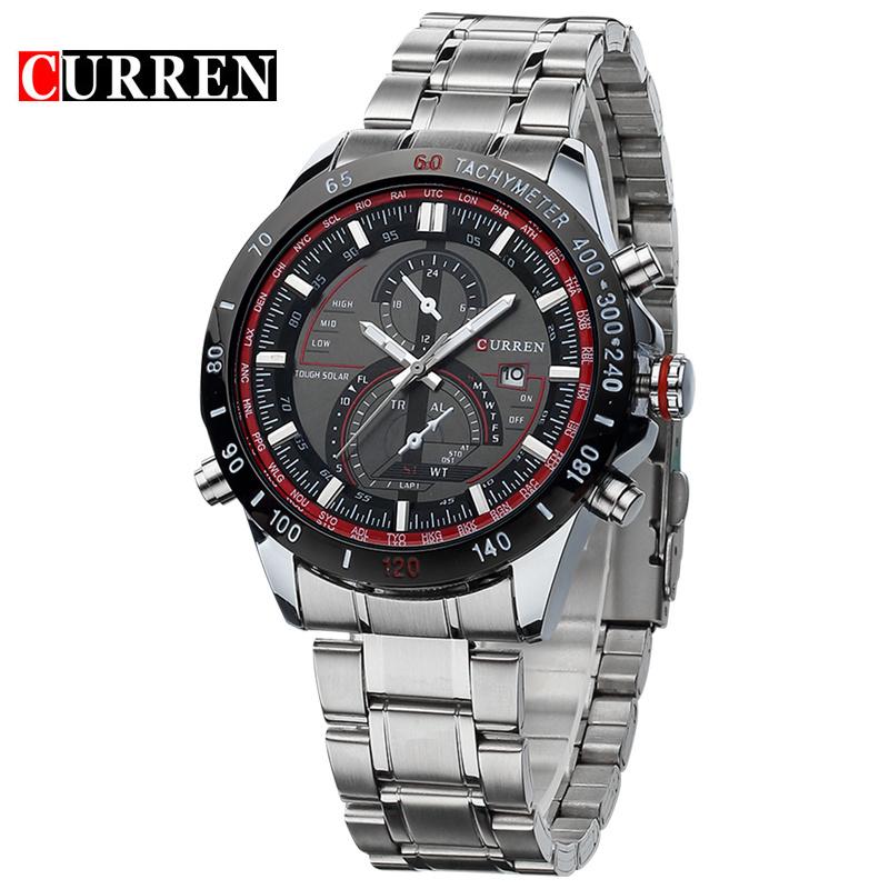 Prix pour CURREN Top Marque D'origine Hommes En Acier Plein Montre Horloge Mâle Quartz D'affaires Montres Montres Étanches 8149