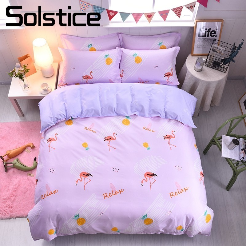 Solstice Home Textile Flamingo Pink Bedding Sets Girls Kid Teen Bedlinen 3/4Pcs Duvet Cover Pillowcase Bed Sheet King Queen Twin