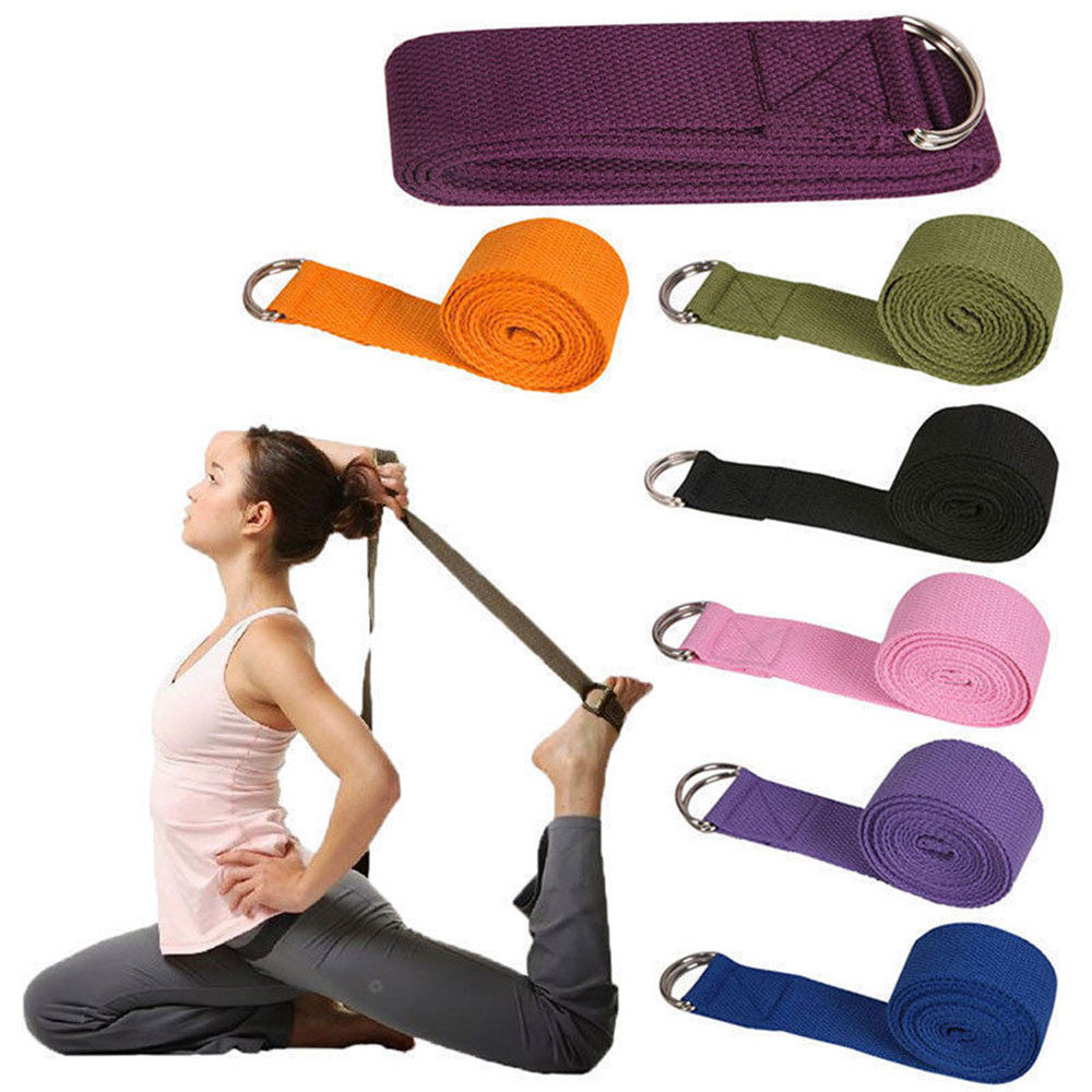 Hot Multi-Colors Adjustable Belt Sport Yoga Stretch Strap D-Ring Belt Gym Waist Leg Fitness Exercise Gym equipment