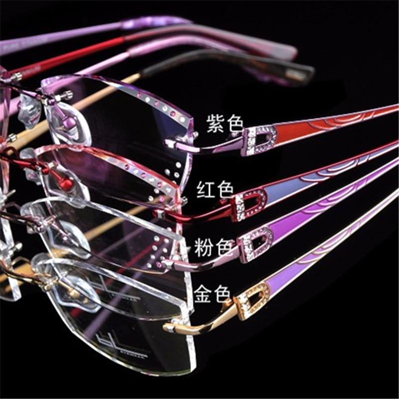 Für Diamant Kristall Rahmen Titanium Weibliche Farbe Myopie Frauen Trimmen Ultraleicht Randlose Brillen Yj37 vqSBn1av