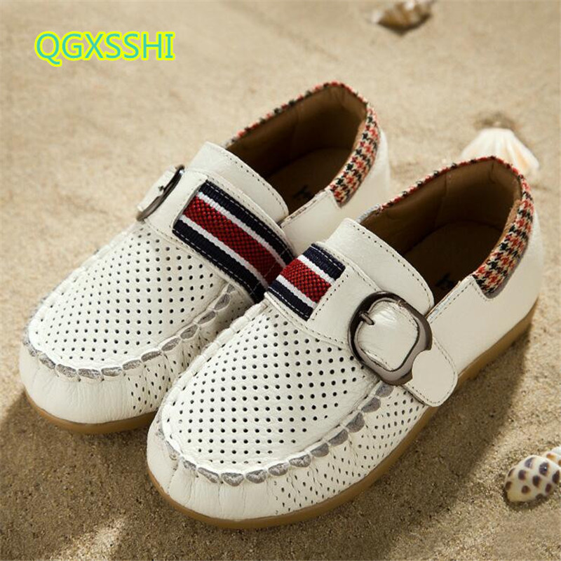 QGXSSHI Genuine Leather Children shoes 2017 Spring Summer casual kids peas Student Breathable shoes boys soft bottom sandals
